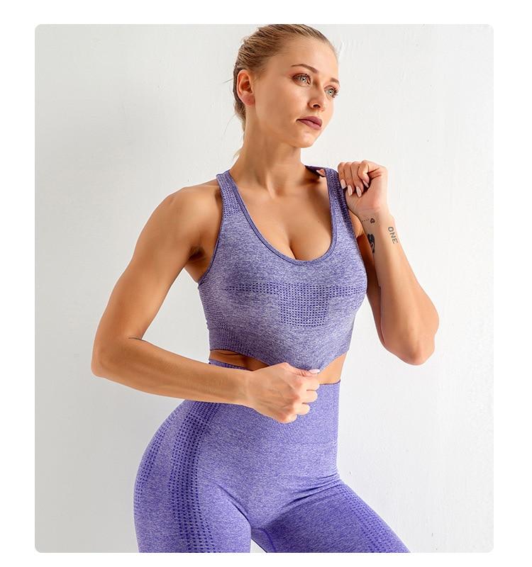 Women's Sportswear Yoga Set Gym Clothing Bra Tracksuit Long Sleeve Crop Top High Waist Seamless Leggings for Fitness Sports Suit