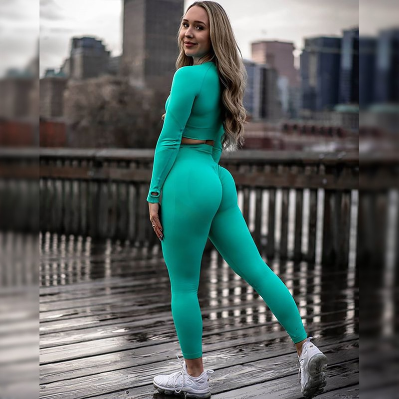 Yoga Set Women's Sportswear Seamless Gym Clothing Fitness Leggings+Cropped Shirts Sport Suit Long Sleeve Tracksuit Active Wear