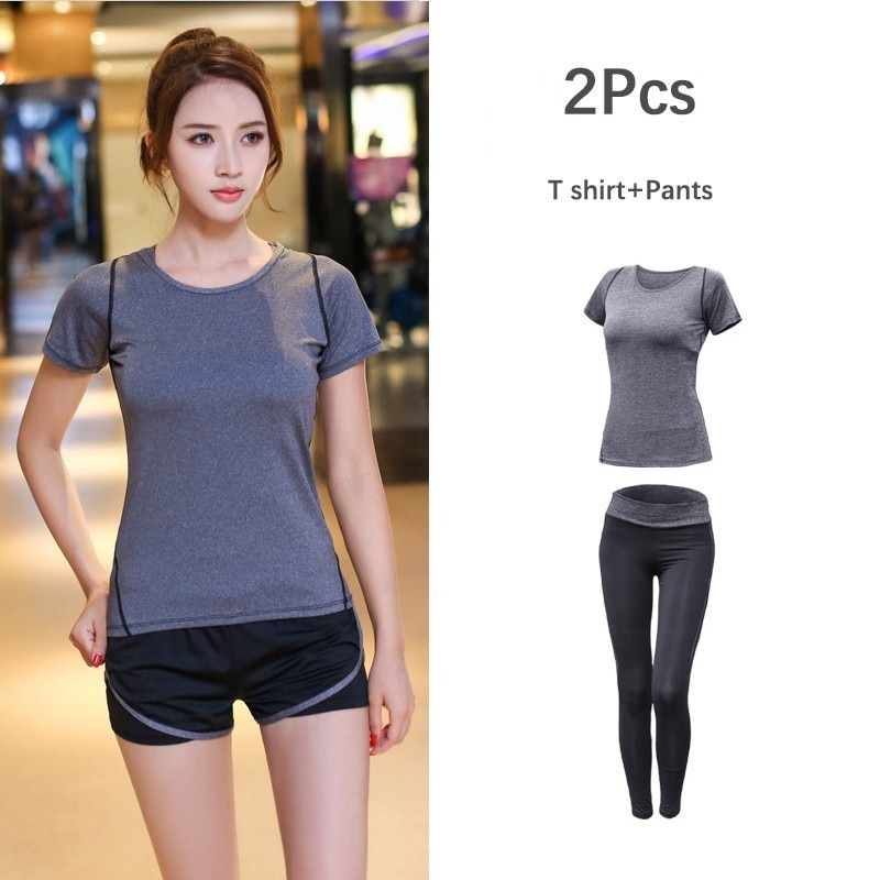 New Women's Sportwear Solid Yoga Sport Suit Breathable Gym Set Female Bra T-shirt Shorts Pants Workout Fitness Clothes Tracksuit