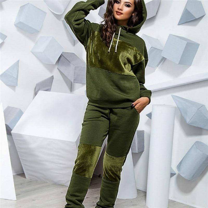 2020 Women Winter Women's Set Tracksuit Full Sleeve Hoodied Sweatshirt Pockets Pants Suit Two Piece Set Outfits Sweatsuit