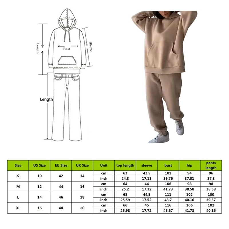 Two Piece Casual Fleece Tracksuit Women's Sets Oversized Hooded Long Sleeve Women Hoodie Suit Winter Solid Sport Pants Lady Set