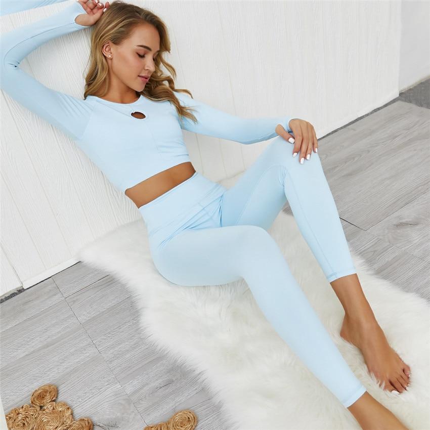 2 Pieces Tracksuit Women's Gym Clothes Fitness Wear FLEX CROPPED LONG SLEEVE High Waist Women Push Up Legging Workout Yoga Set