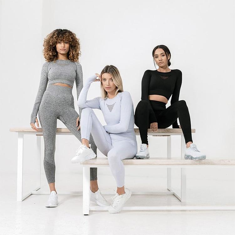SOISOU Women's Tracksuit High Waist Fitness Clothing Yoga set 2 Piece Long Sleeve Top