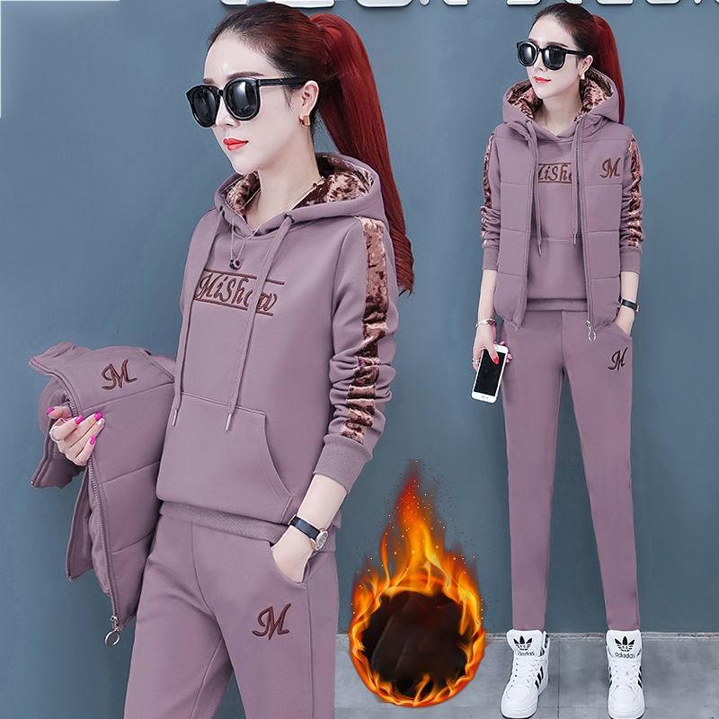 3 Piece Set Women Suit Tracksuit Winter Hoodies+Vest+Pants Track Suit Plus Velvet Warm Sporting Women's Suits Female Clothes