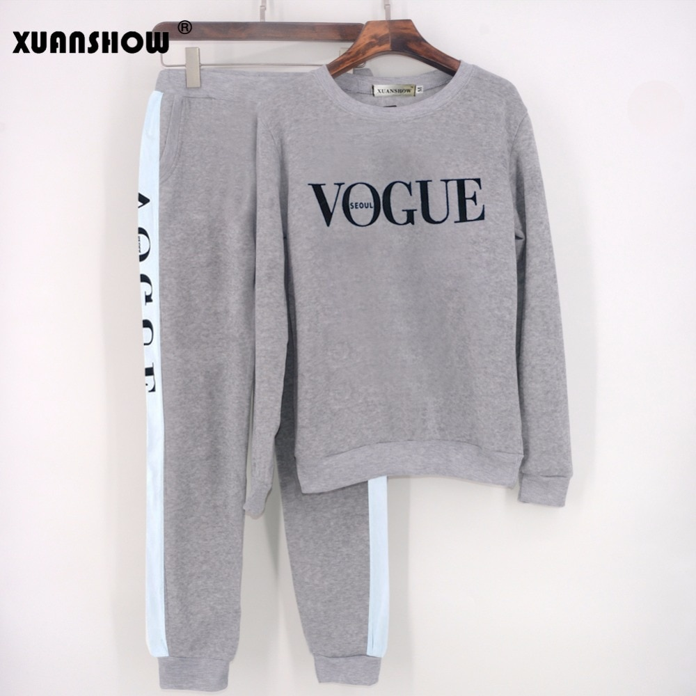 XUANSHOW Tracksuit 2021 Autumn Winter Women's Suit VOGUE Letter Printed 0-Neck Sweatshirt + Patchwork Long Pant 2 Piece Set