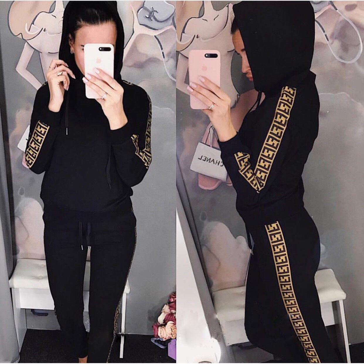 Women's Sets Autumn Hooded Sweatshirt and Pants Set Pullover Two Piece Outfits for Women's Tracksuit Sp133