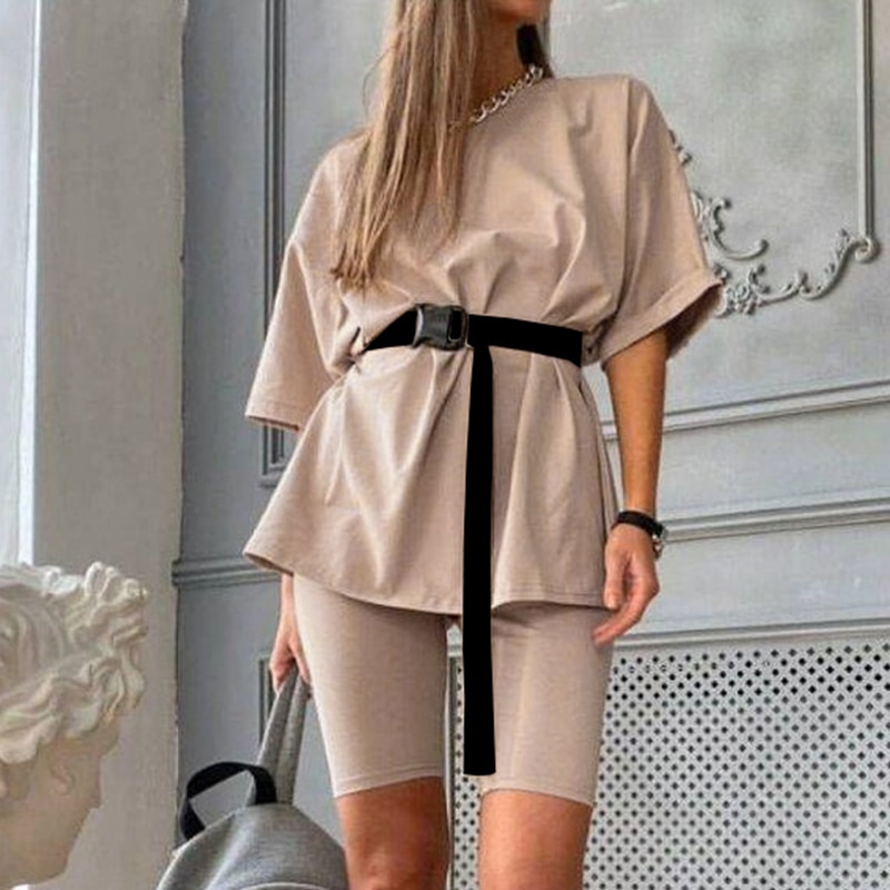 Simplee Casual solid women's two piece suits with belt Home fashion bicycle sets Sports shorts tracksuit suit Spring summer 2020