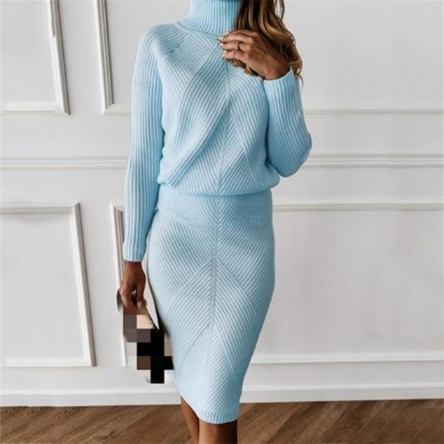 MVGIRLRU Women's Knitting skirt suit women's Costume Sweater suit + Slim Skirt Two-Piece tracksuit