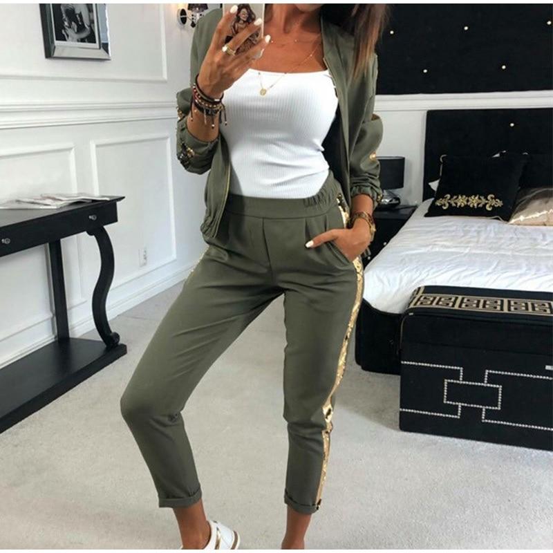 Patchwork Sequin Women's Tracksuit Zipper Long Sleeve Coat Drawstring Pants Female Sports Sets 2021 Spring Fashion Ladies Suit
