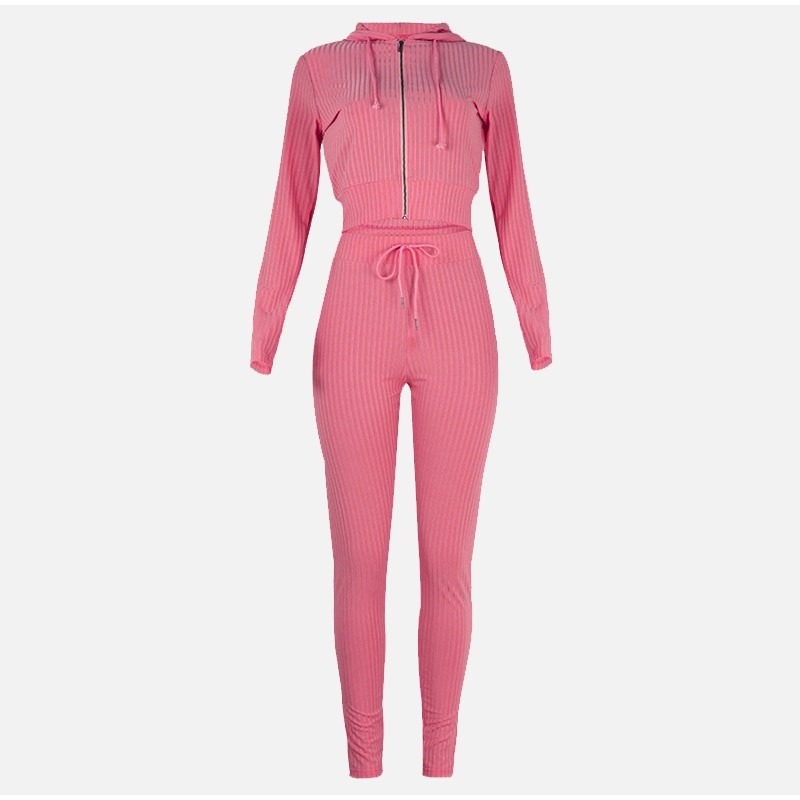 2021 SPring Women Pajama Set Home Hooded Long-sleeved With Zipper Top & Pants Suit Outfits Ladies Slim Casual Suit Homewear