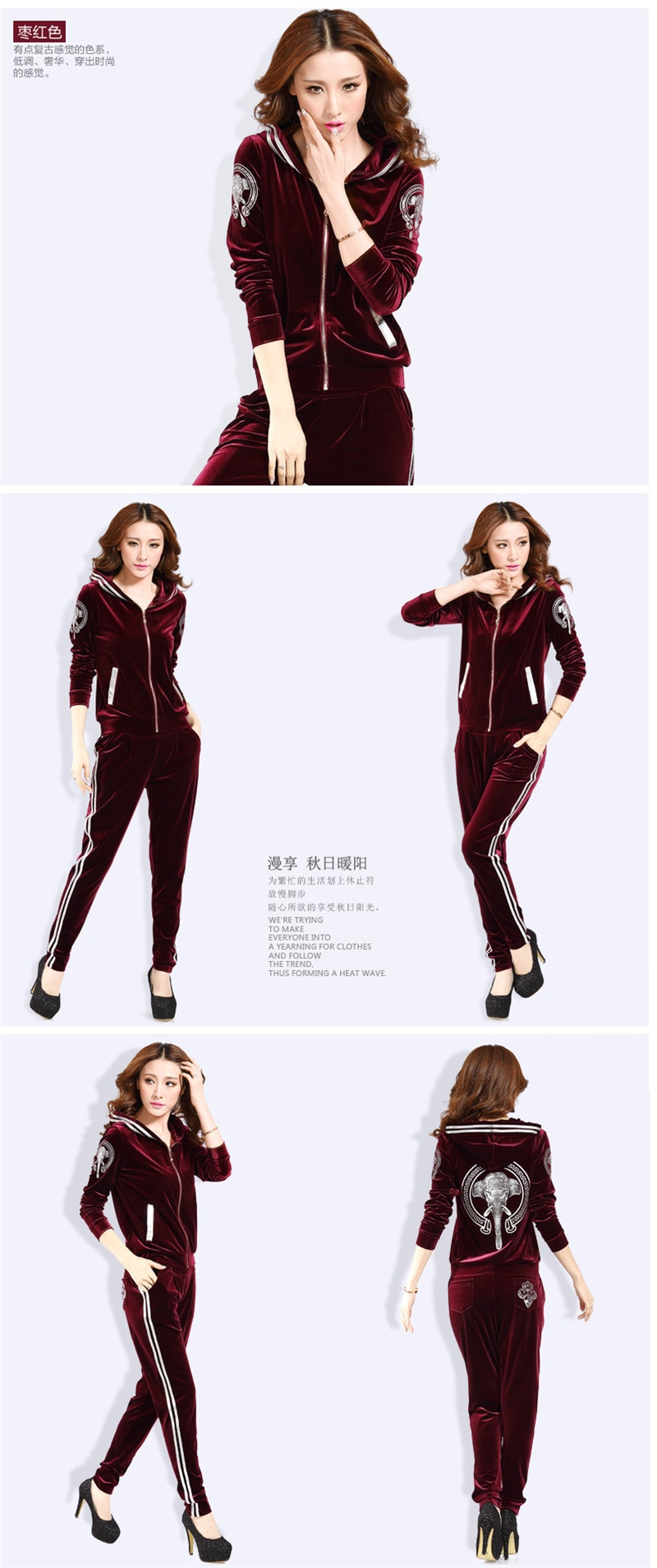 Spring Fall Women's Velvet Tracksuits Female Velour Suit Casual Hooded Jacket And Pants Two Set Gold Velvet Sportswear Suit 1518