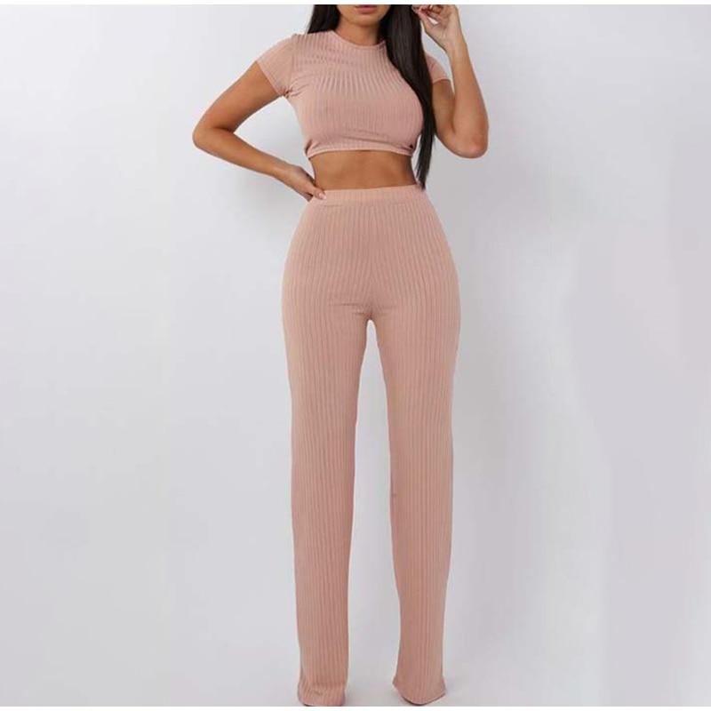 Knitted Suit Women's Tracksuit Short Sleeve Crop Top Wide Leg Long Pants 2 piece Sets Womens Outfits  2021 Summer Streetwear Set