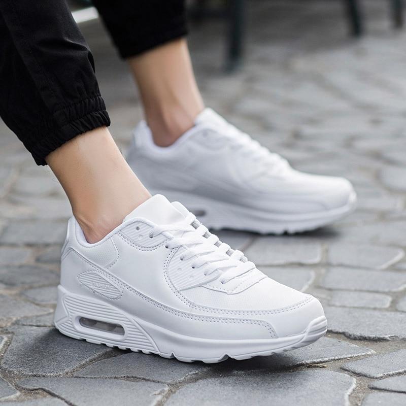 Comemore Leather Women's Sneakers Air Cushion Women's Tennis Sports Shoes Men White Basket Femme 2018 Footwear Krassovki