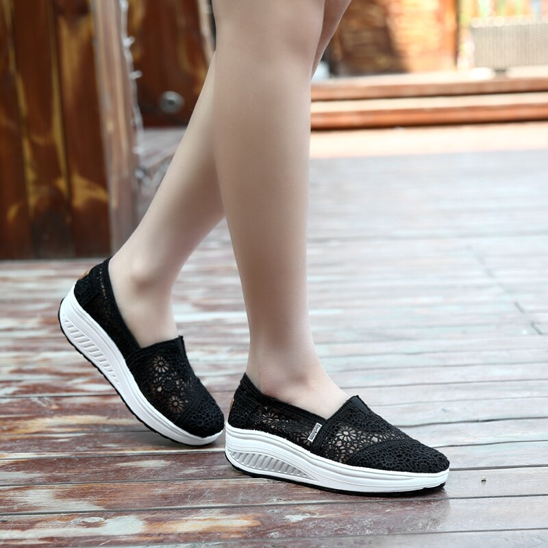 Summer Fashion Women's Thick-soled Breathable Mesh Non-slip Sports Fitness Rocker Ladies Sneakers Walking Shake Shoes