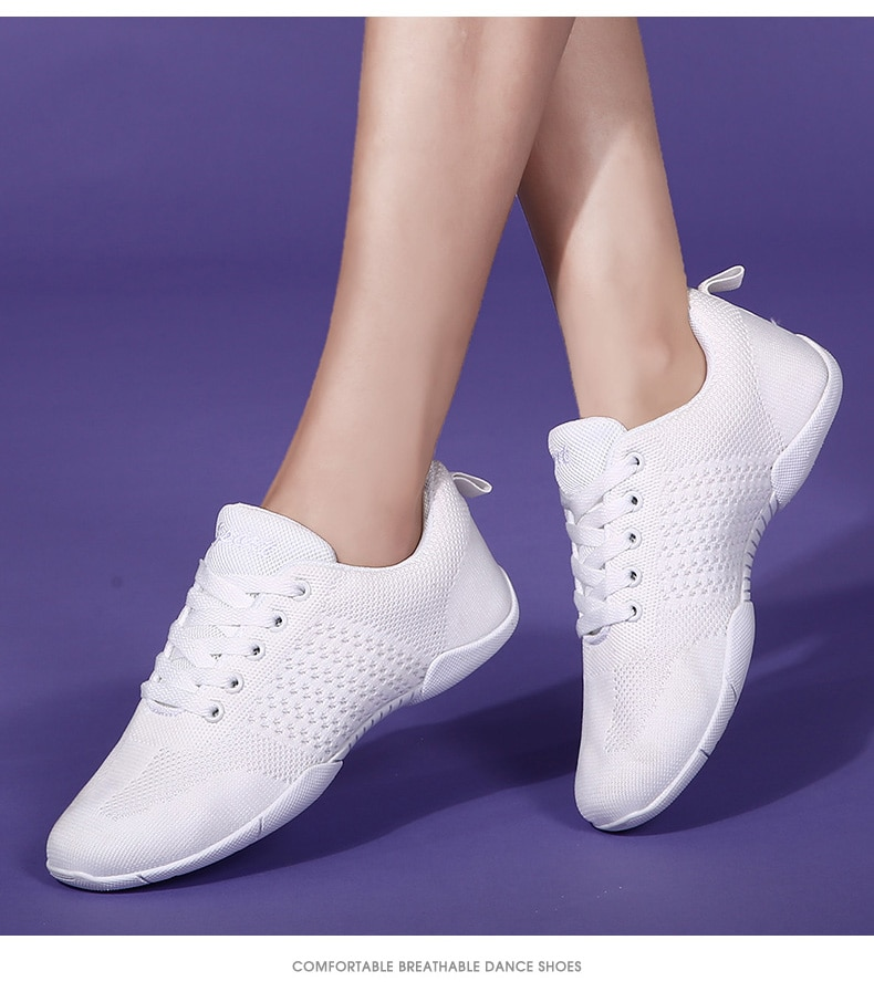 White Aerobic Shoes Children's Adult Fitness Shoes Gymnastics Sports Dance Shoes for Women Cheerleading Shoes Women's Square