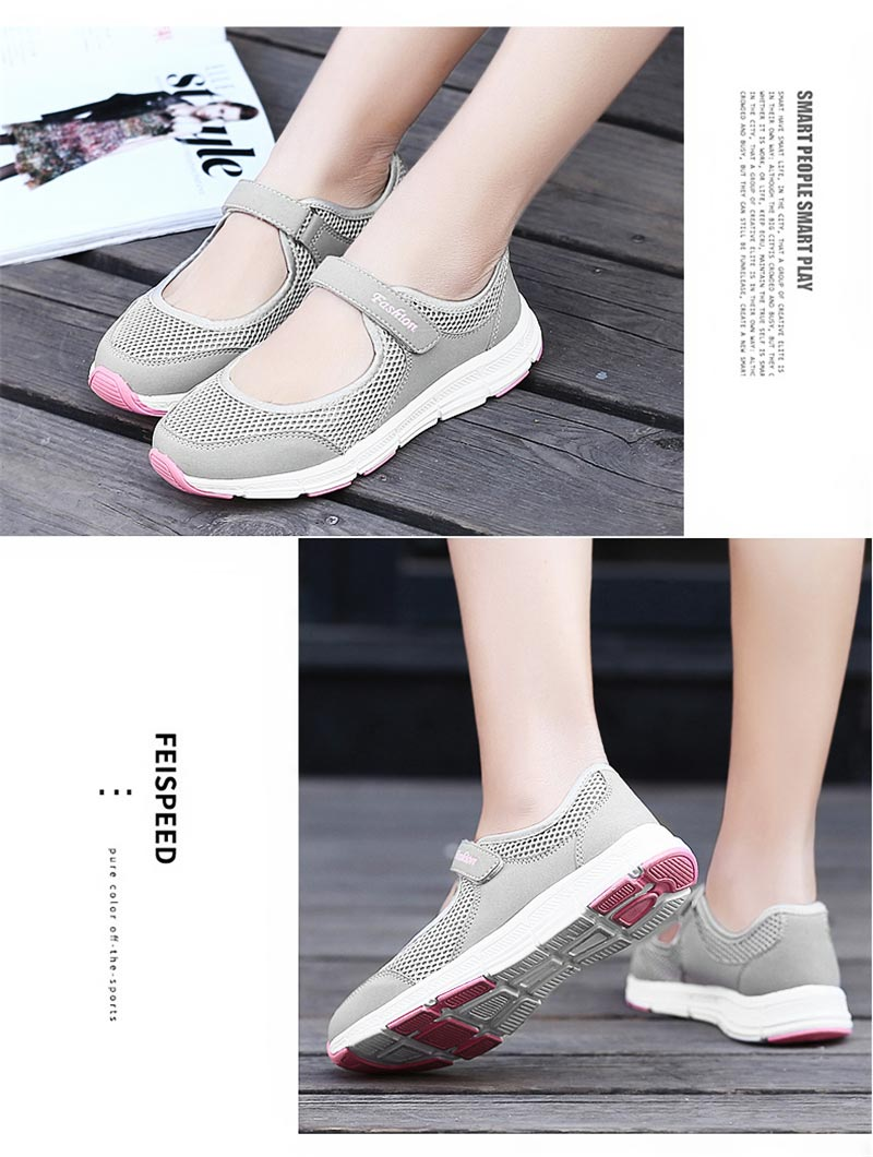 High Size Summer Breathing Walking Shoes Women Sport Sneakers Women's Running Shoes Sports Woman Jogging Shoes Light Grey D-443