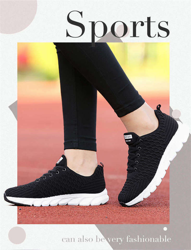 Women's sneakers Lace-Up White Low top sports shoes Super Light Comfort Running shoes woman Mesh Breathable Soft walking shoe P2