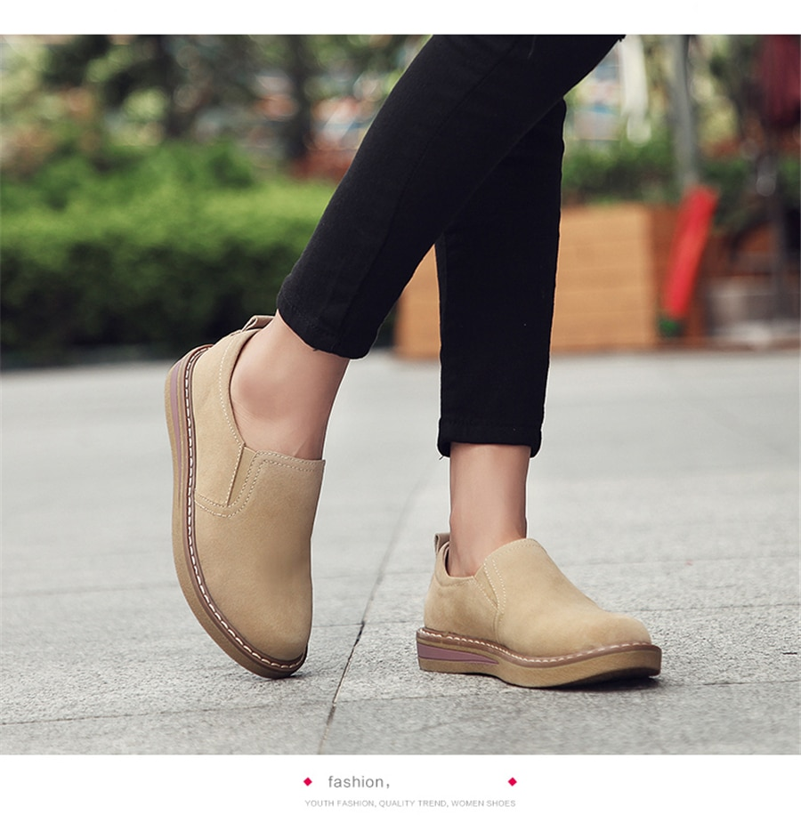 STS brand 2020 new spring flat women's shoes suede leather casual shoes low heel black women's shoes flat loafers Jazz Oxford