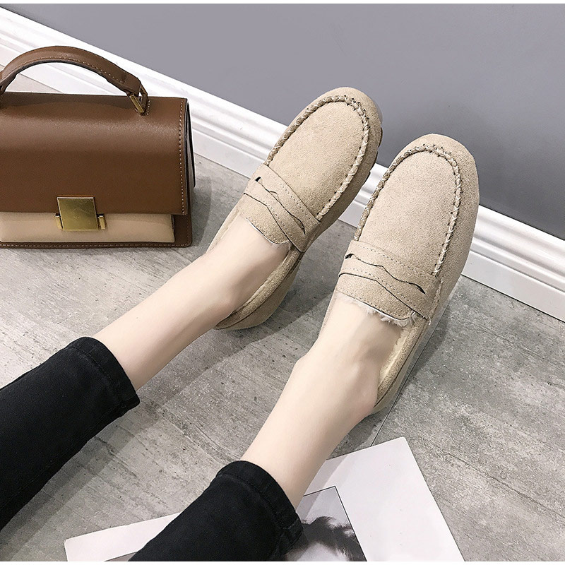 Women's Loafer Ladies Warm Short Plush Square Round Shoe Non Slip Shallow Button Sewing  Slip Woman On Comfortable Footwear Flat