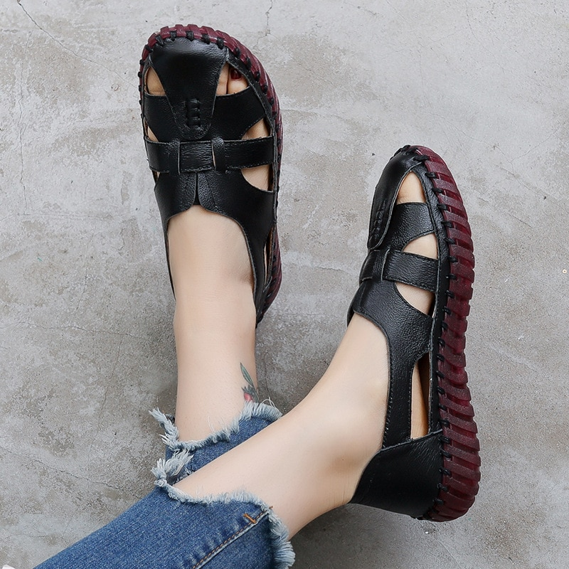 GKTINOO Genuine Leather Women Flats Hollow Woman Shoes Summer Women's Loafers Breathable Beach Female Sandals Big Size 35-42