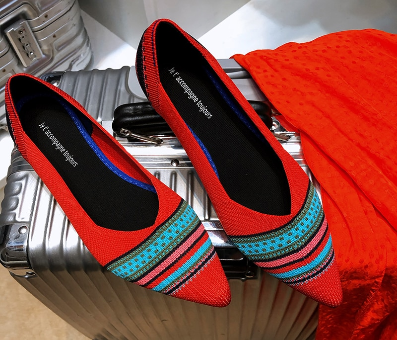 Women Summer Casual Shoes Knitting Ethnic Fabric Soft Women Flats Shoes Slip on Doctor Nurse Workers Loafers