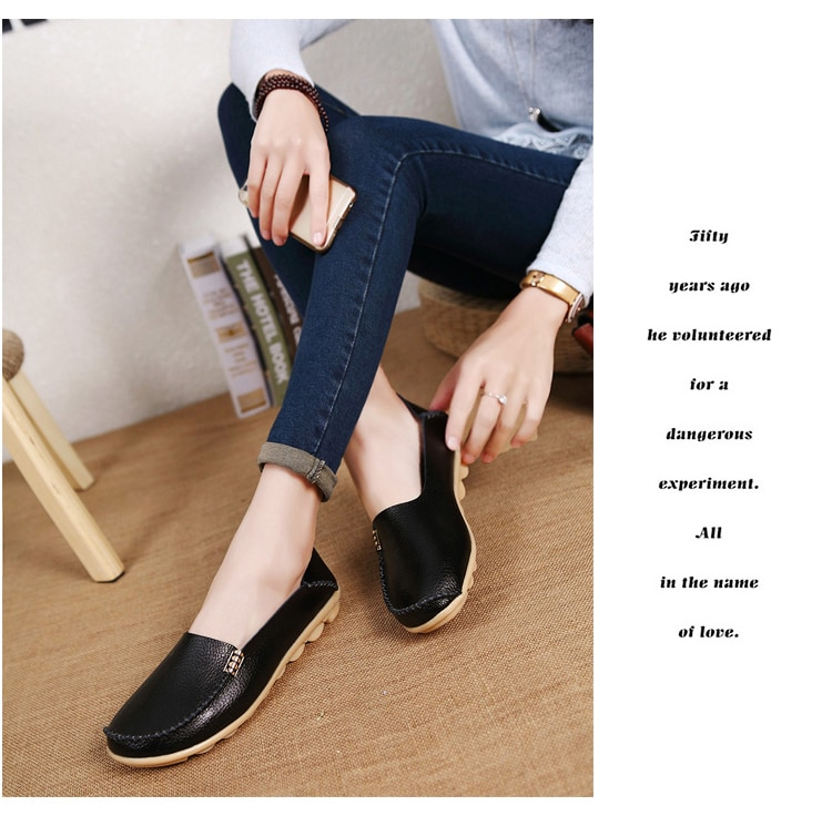 KUIDFAR 2018 Fashion Genuine Leather Women Flats Shoes Female Casual Flat Women Loafers 16 color Moccasin Women's Shoes