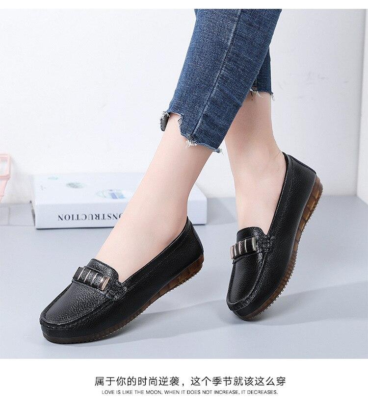 Autumn Flats Women Shoes Loafers Genuine Leather Women Flats Slip On Women's Loafers Female Moccasins Shoes Plus Size 35-40