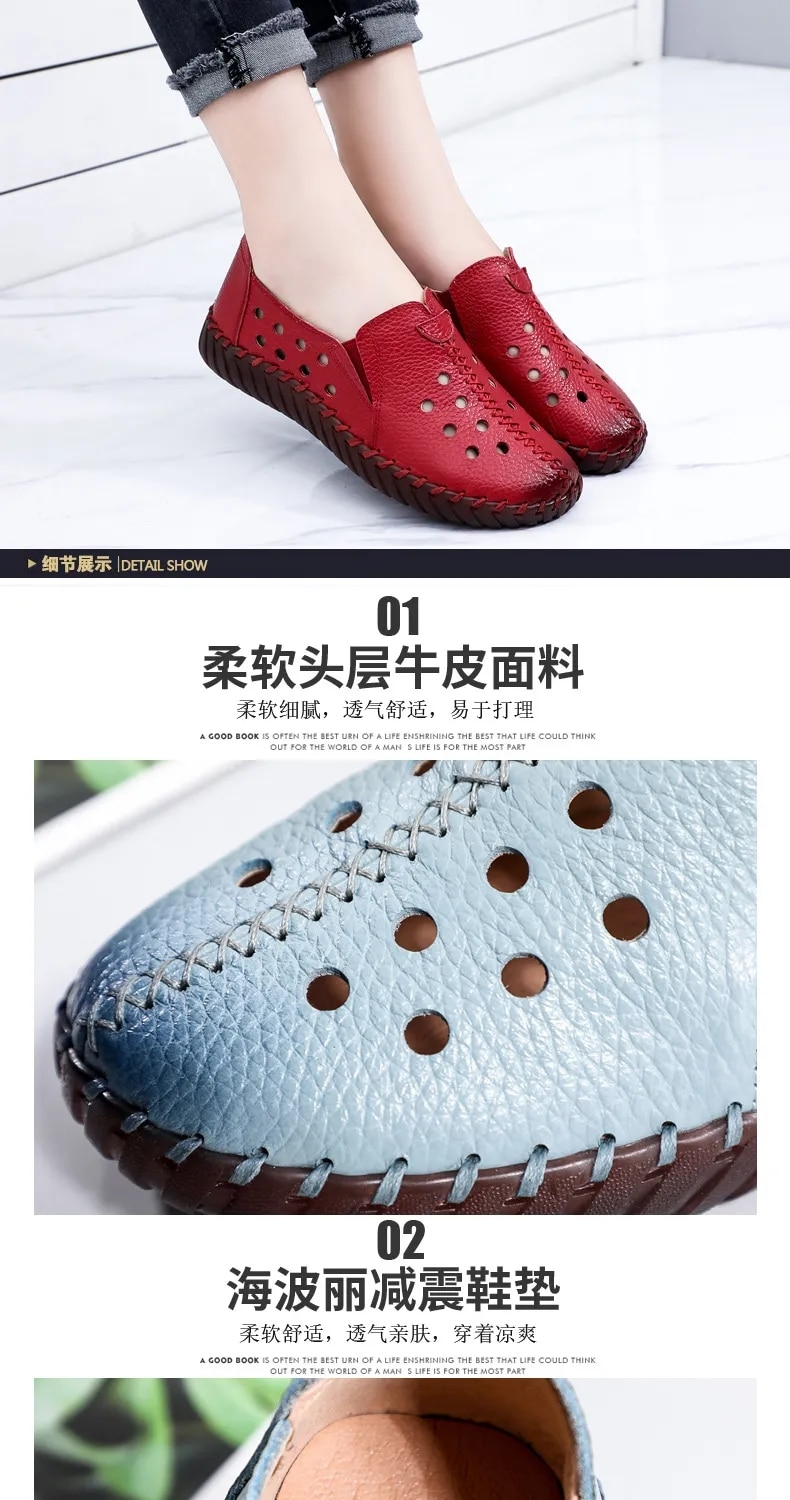 2021 White Black Hollowed Moccasins For Women Genuine Leather Flats Breathable Loafers Shoes Women's Soft Casual Flat Shoes Blue