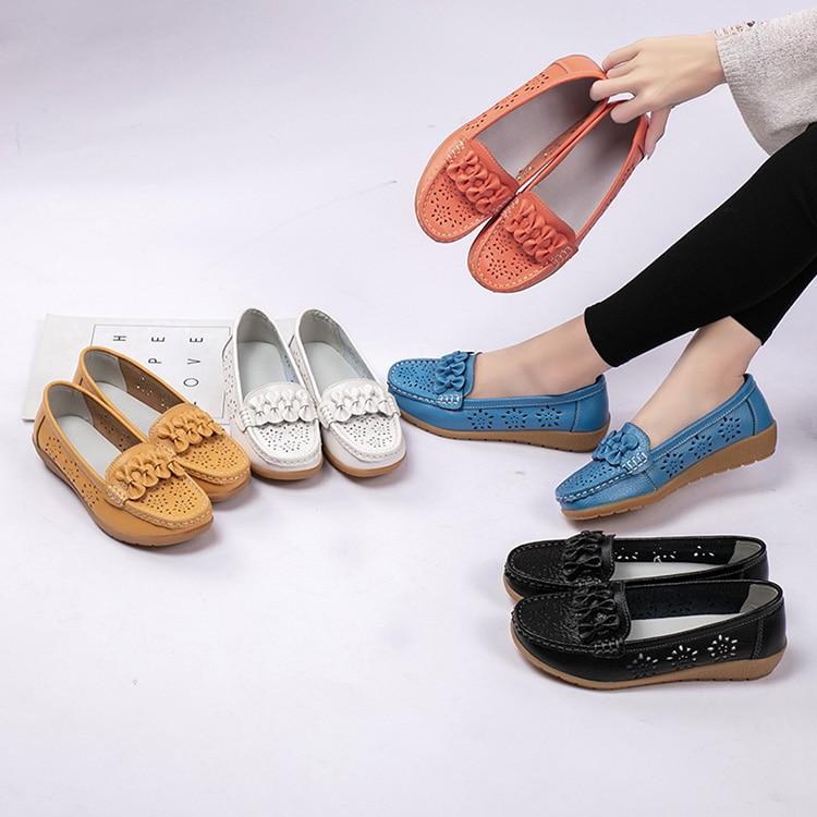 2020 Women Flats Wedge Heel Woman Loafers Genuine Leather Female Shoes Moccasins Slip On Ballet Bowtie Women's Shoe Size 35-44