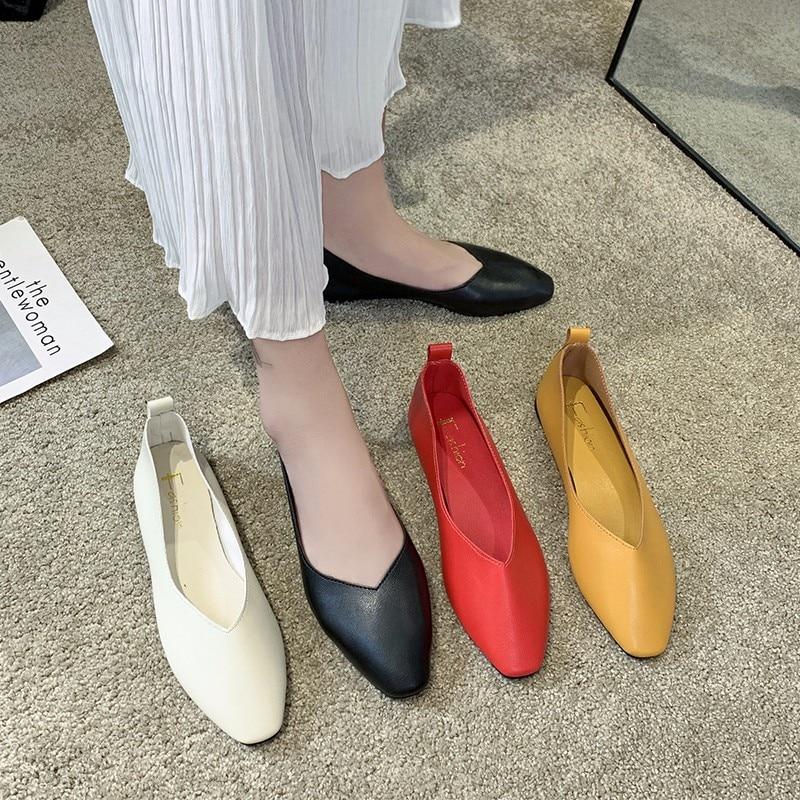 Women's Casual Flats Bailarinas Luxury Brand Shoes Woman Square Toe Ballet Female Boat Shoes Slip-on Maternity Loafers Feminino