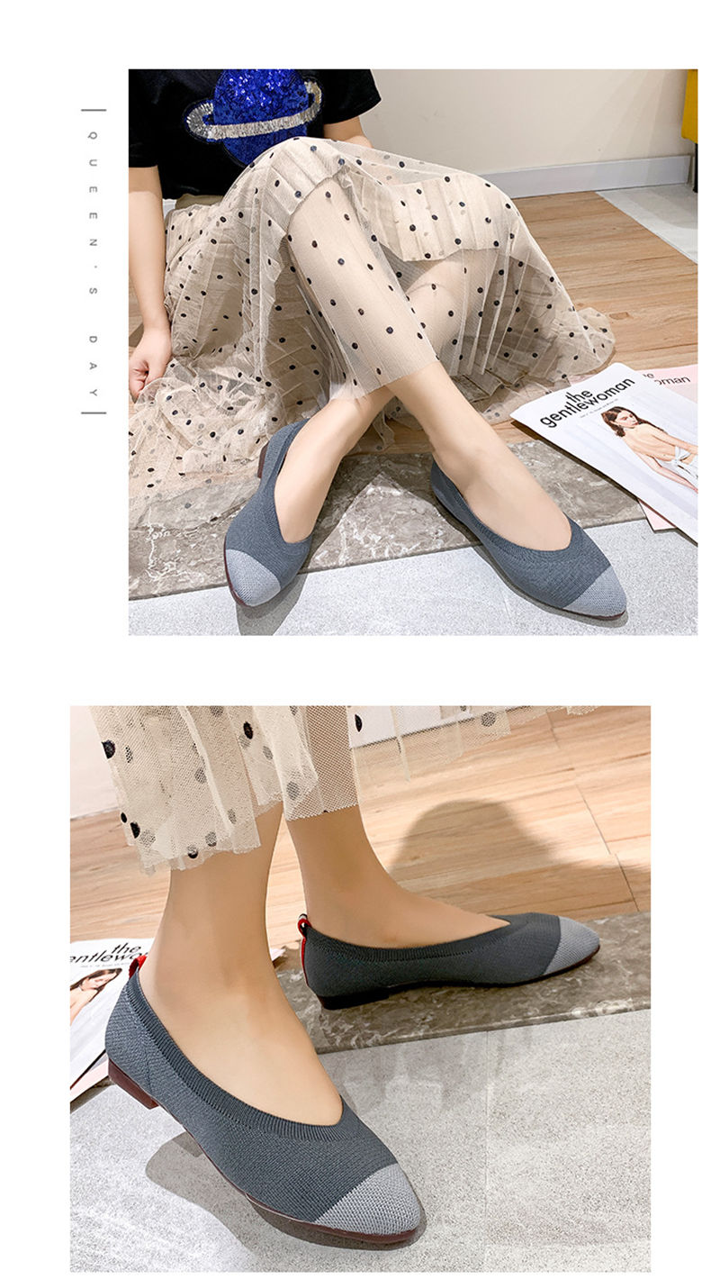Woman Autumn Summer Breathable Knit Pointed Toe Single Shoes Women's Flat Shoes Casual Shallow Peas Shoes Girl Soft Ballet Shoes