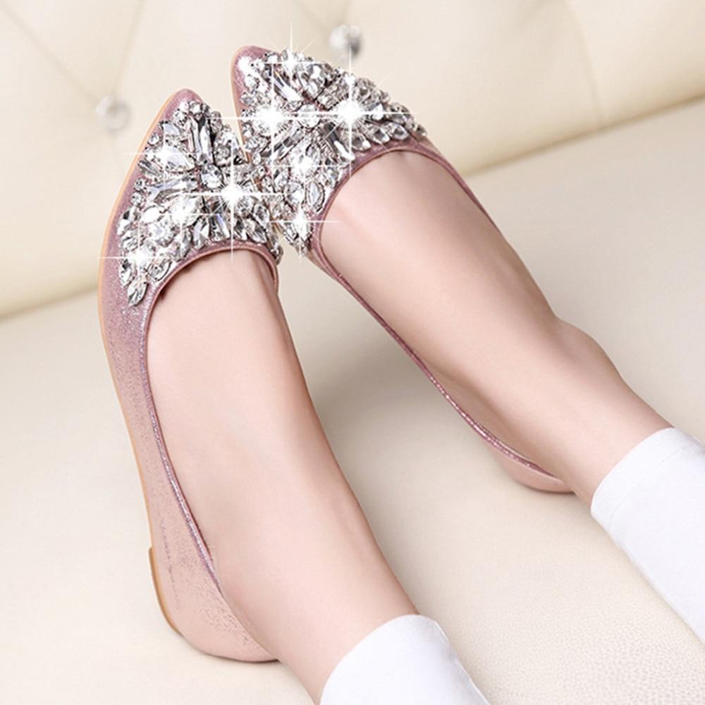 Women's Autumn Shoes Casual Loafer Fashion Women Ballet Boats Bling Rhinestone Flats Shoe Crystal Shoe Ballerina Flats Shoes