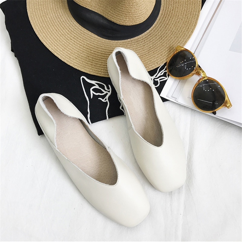 New 2020 Spring Shoes Women Flats Top Quality Flat Shoes Genuien Leather Loafers Square Toe Casual Shoes Ballet Flat Big Size 40