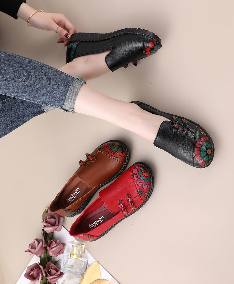 2021 Spring Red Leather Shoes Women's Loafers Chinese Style Flower Printed Flat Shoes Black Ladies Loafers Womens Shoes Flats