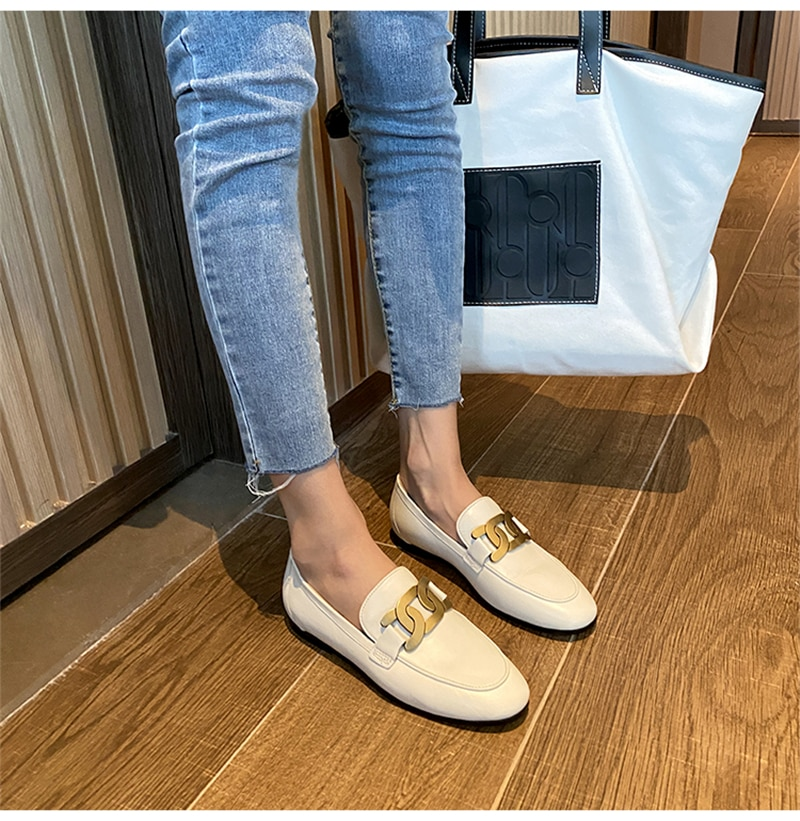 Women  Genuine leather loafers metal Buckle Women's Small Flats Mary Jane Slip On Round Toe Low-heeled Shoes