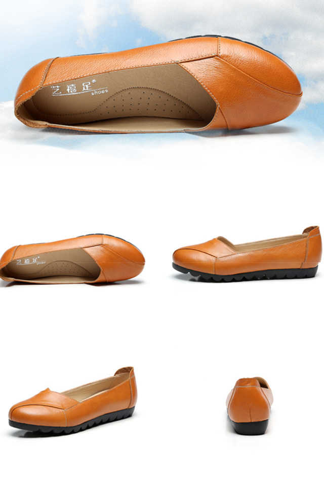 Soft genuine leather shoes women flat ladies casual shoes leisuer comfort slip on shoes women's loafers schoenen vrouw