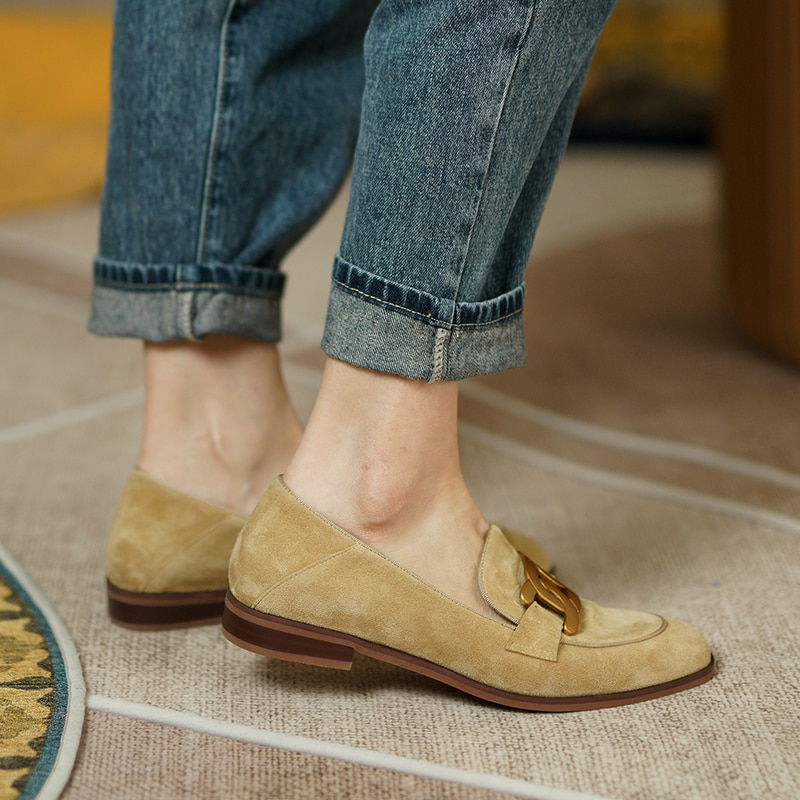 Women's natural suede leather slip-on flats loafers leisure soft comfortable casual espadrilles high quality four season shoes