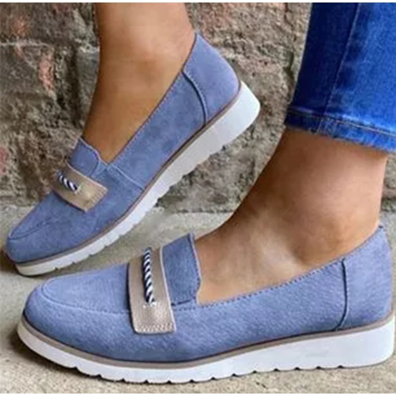 Shoes Woman Flats Slip On Ladies Loafers Light Soft Suede Sewing Wedges Platform Female Casual Women's Shoes Shallow Autumn 2020
