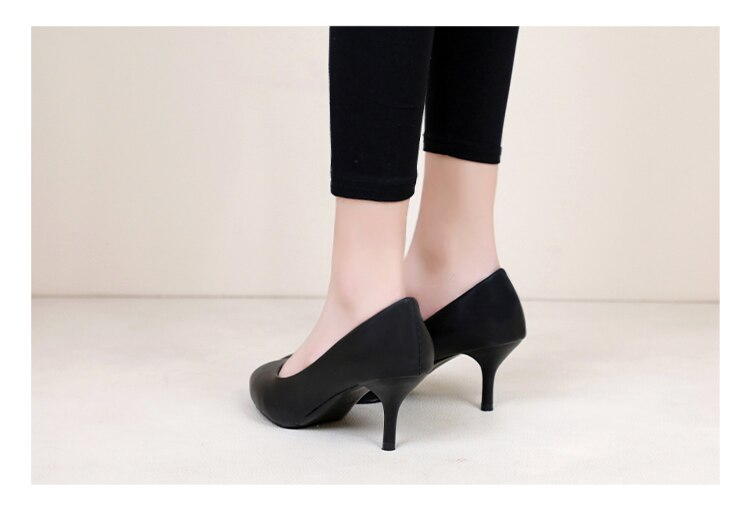 Professional Single Shoes Simple Comfort Work Shoes Black High Heels Formal Wear Leather Shoes Sexy Small Size Women's Shoes 32