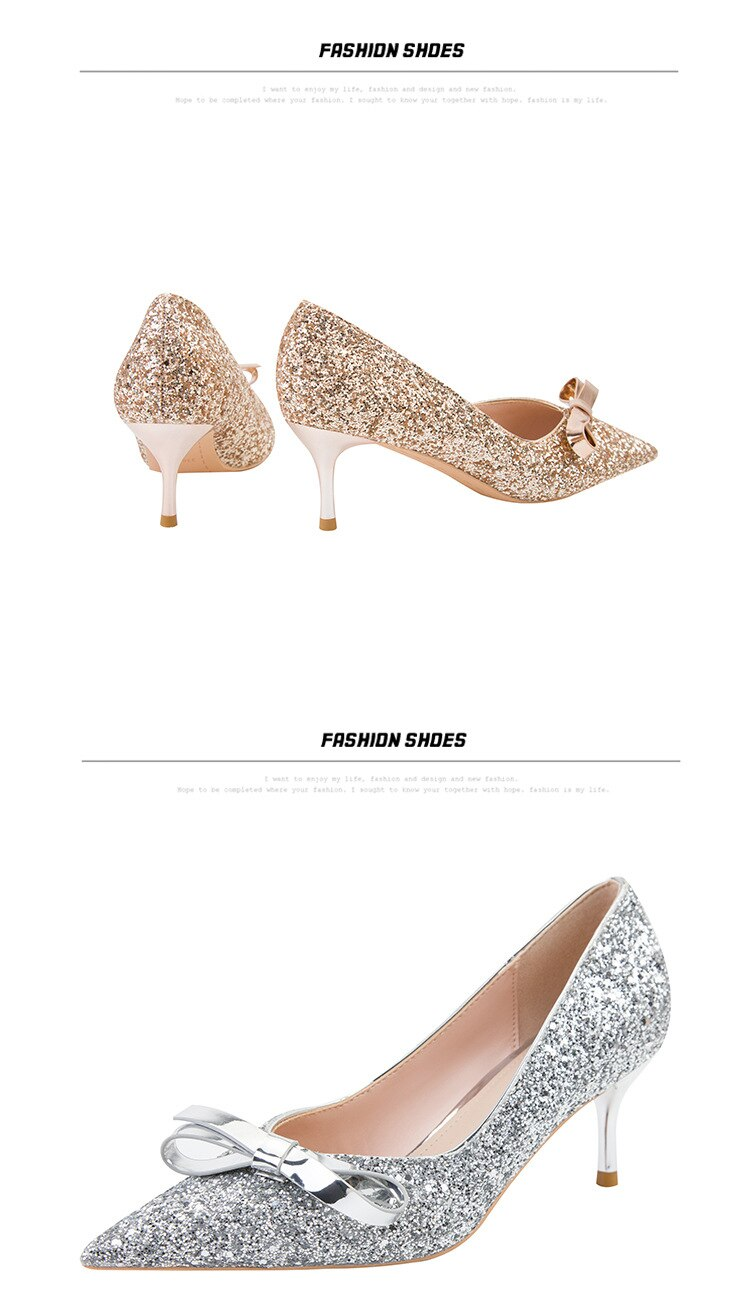 New Woman Sequins Gold Silver Stiletto Heels Office Lady Formal Dress Pumps New Fashion Sexy 6cm Heel Shoes With Bow Pumps