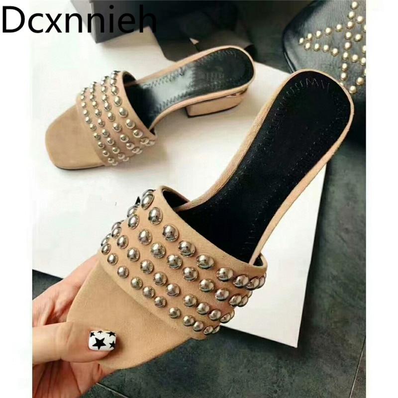 High Heel Slippers Designer Fashion Summer New Shoes Women's black Metal Decor Fashion Sandals Ladies Formal Mules Shoes 2021