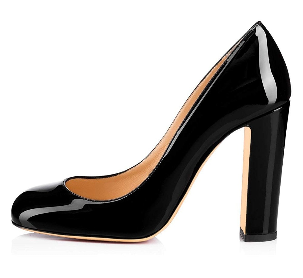 Aimirlly Women Shoes Round Toe High Heels Pumps Formal Evening Party Clubwear Dress Shoes Sexy Heels Patent Leather Slip-On