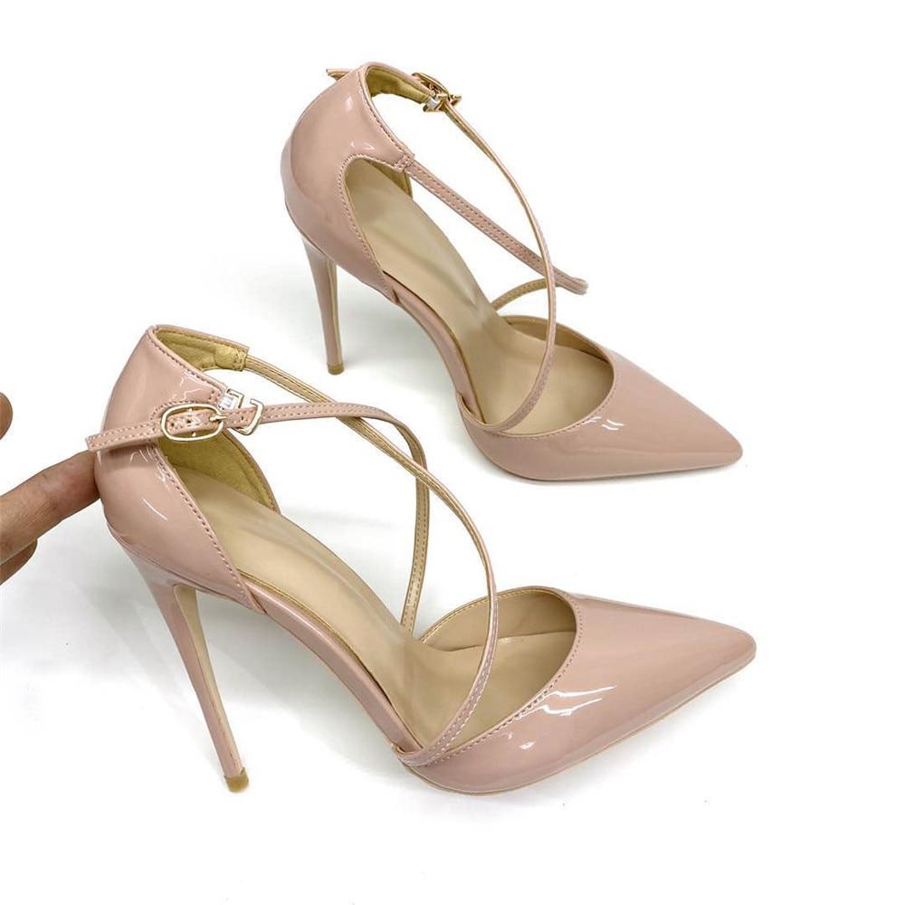 Veowalk Solid Nude Women D'orsay Pointed Toe Stilettos High Heels Ankle Strap Pumps Elegant Ladies Formal Dress Shoes