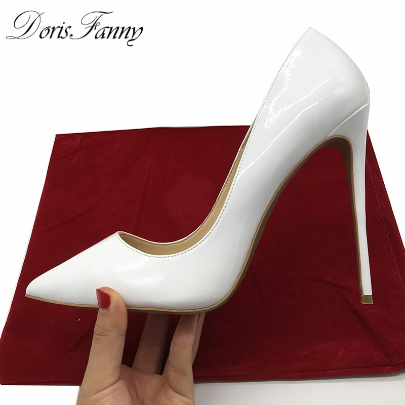 Doris Fanny pointed patent leather designer white wedding shoes bride woman heels formal red sole heels