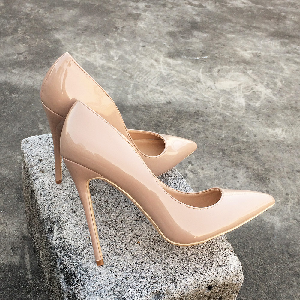 Veowalk Solid Black Women 12cm High Heels Slip On Pointed Toe Glossy Stilettos Pumps Elegant Ladies Formal Dress Shoes