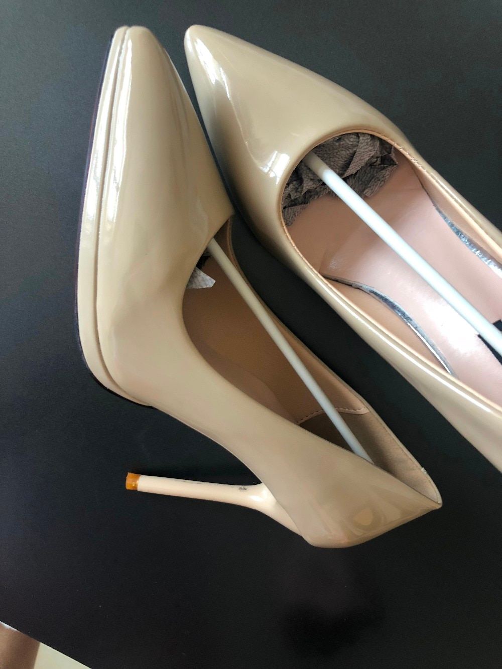 Women Cheap Classical Design Pointed Toe Nude Black Patent Leather Pumps Office Ladies Formal 10cm High Heels Dress Wedding Shoe