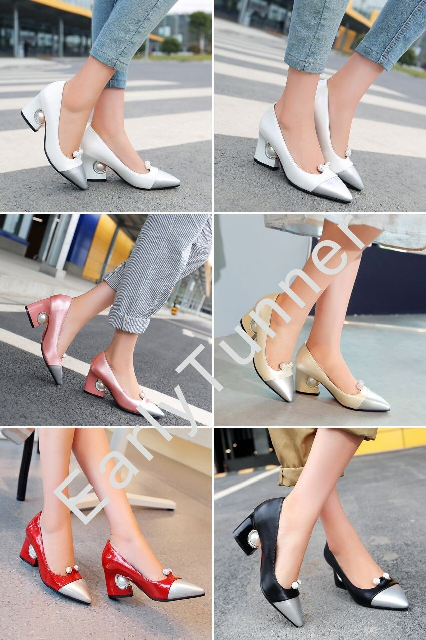 Sales Brand New Fashion Glossy Women Formal Pumps Beige Red Pink Black Sexy Lady Wedding Shoes EY6s Pearl Plus Big Size 12 31 48
