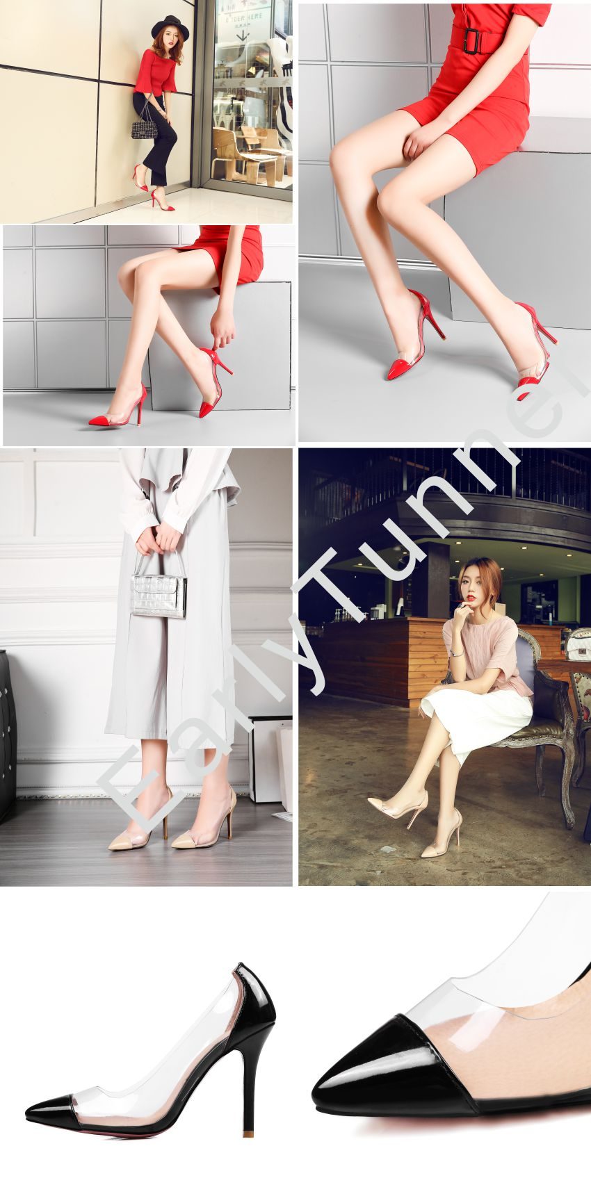 Hot Sale Brand New Black Red Sweet Women Party Formal Pumps Apricot High Heel Sexy Lady Casual Shoes EM19 Plus Big Size 31 47 12