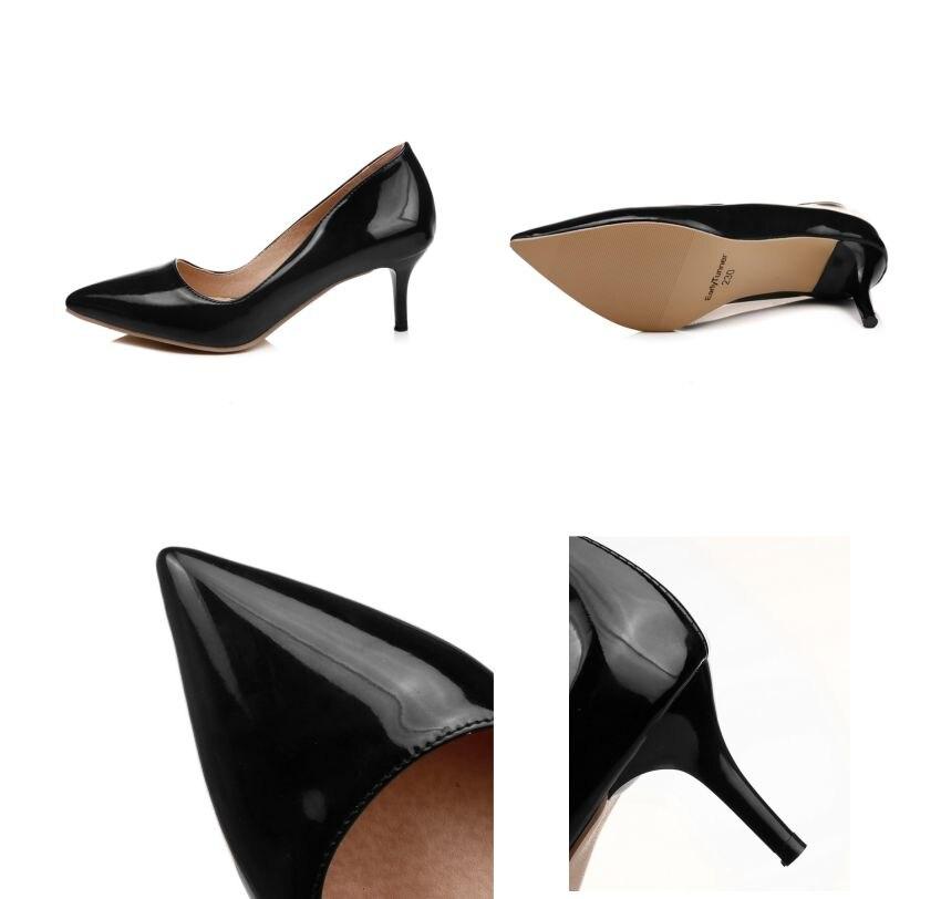 Brand New Hot Elegant Red Black Women Glossy Bridal Pumps High Heels Apricot Lady Formal Shoes EM58-2 Plus Big Size 30 43 45 48