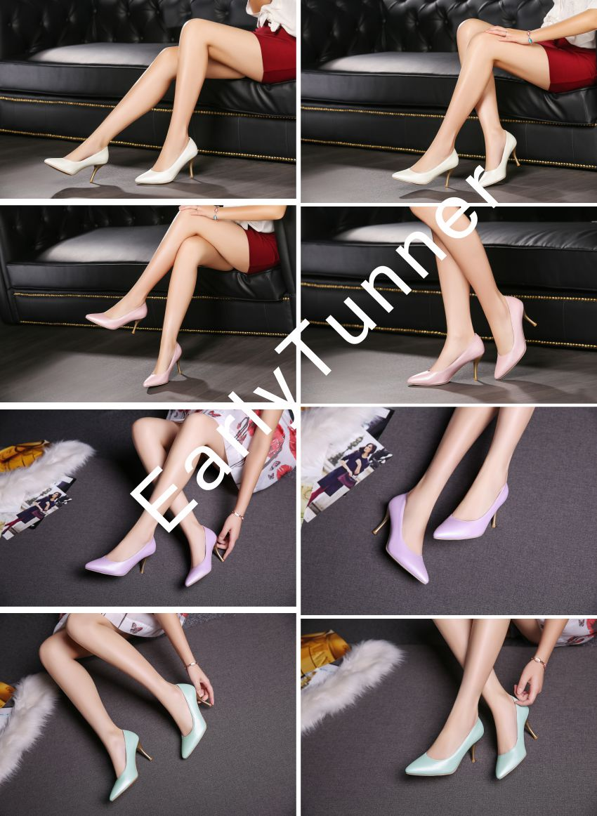 Brand New Glossy Sexy Women Nude Pumps Blue Pink Purple White High Heels Ladies Formal Dress Shoes AM-9 Plus Big Size 12 30 48